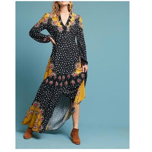 Anthropologie Farm Rio Floral-Blocked Maxi Dress